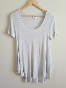 SEED HERITAGE Grey Scoop Neck Ribbed Top - Size S