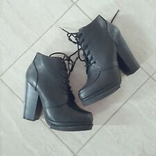Qupid Black chunky heeled grunge boots