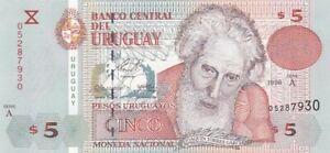 UNC 1998 Uruguay 5 Pesos Note, Pick 80