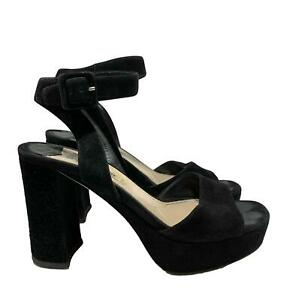 MIU MIU BLACK SUEDE HEELED SANDALS, 37, $595