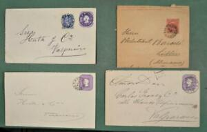 CHILE STAMP COVERS SELECTION OF 4 POSTAL STATIONARY COVERS USED  (K25)