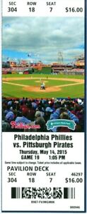 2015 Phillies vs Pirates Ticket: Ryan Howard HR/ Aaron Harang win