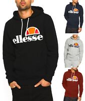 ellesse Mens Cotton Overhead Gottero Hooded Sweatshirt Top Black Blue Hoodie