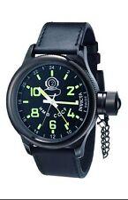 Invicta 7183 Black S/S Russian Diver Swiss Quartz Navy Blue Alliga Leather Strap