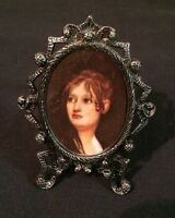 "Vtg Miniature PICTURE FRAME Silver Tone Metal Victorian Photo Ornate 2.5"" New"