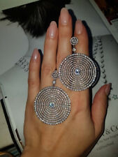 18k White Gold GF Large Hoop Earrings made w/ Swarovski Crystal Stone Gorgeous