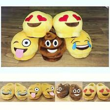 Ladies Girls Novelty Fun Slippers EMOJI Heart Laugh Wink Poo sizes 28-41