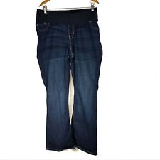 Old Navy Womens Maternity Jeans 16 R Low Rise Boot Cut Stretch Distressed Hem