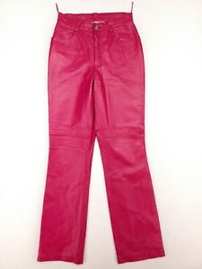 Newport News Easy Style Womens Size 4 Pink SatinLined Genuine Leather Pants EUC