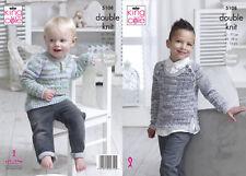 King Cole Niños Chicos Doble Tejer patrón suéter de cuello redondo cuello o 5108