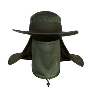 Outdoor Sun Protection Hat Neck Face Head Flap Cap Wide Brim for Hiking Fishing