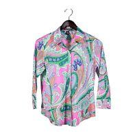Ralph Lauren Women's Shirt Paisley Button Up 3/4 Sleeve Vintage Petite Medium