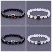 8MM Black Matte Stone Gold Silver Owl Head Charm Men's Women Mala Bracelets