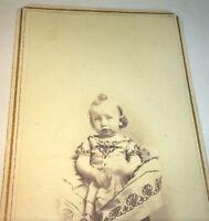 Antique American Civil War Era Sad Looking Child, Illinois CDV Photo! Tax Stamp!
