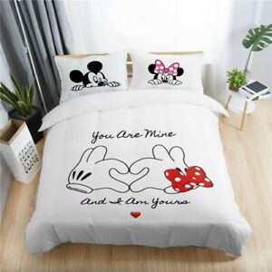 3D Disney Mickey Minnie Love Heart Kids Duvet Cover Set Pillowcase Quilt Cover
