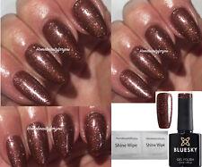 BLUESKY VIP 01 CHOCOLATE BROWN GOLD SHIMMER COFFEE FINE GLITTER LED UV SOAK OFF