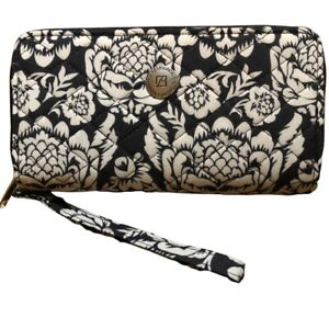 NWT Stone Mountain Wristlet Wallet Quilted Cotton Blk Floral Phone Card Case USA