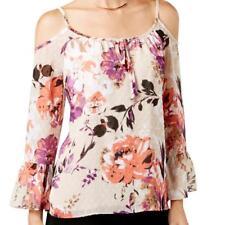 INC $89 BEIGE Floral Print COLD SHOULDER Blouse Top Shirt SZ 12 NWT