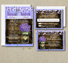 100 Wedding invitations Suite Purple Hydrangea Rustic Style with Envelopes