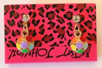 Betsey Johnson Crystal Rhinestone Enamel Flower Post Earrings