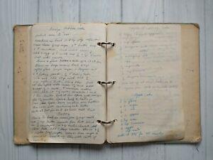 Vintage Grandmas Recipe Binder Mostly Handwritten Desserts Cakes Clipped Recipes