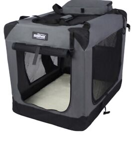 EliteField 3-Door Folding Soft Dog Crate, Indoor & Outdoor Pet Home, Small Grey
