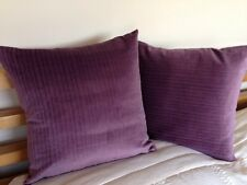 2 Designers Guild Cotton Velvet Cushion Covers Dark Purple Aubergine mauve
