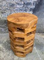 Holzhocker 54x30cm Beistelltisch Stuhl Couchtisch Handarbeit Massivholz rund