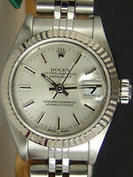 ROLEX - Ladies 18kt White Gold & SS 26mm DateJust Silver Stick - SANT BLANC