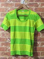 MARIMEKKO sz M Mika Piirainen Striped Scoop Neck T-Shirt Cotton Green