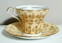 Aynsley Tea Cup and Saucer Beige w/Gold Flowers Bone China England