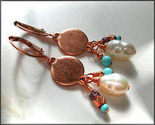 *PI*AAA BAROQUE PEARL Sleeping Beauty TURQUOISE Garnet COPPER COIN drop Earrings