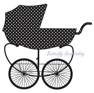 BABY BUGGY Wood Mounted Rubber Stamp HAMPTON ART Stamp PS0843 NEW