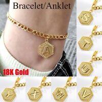 Initial Letter Anklets Women Men's 18K Gold Leg Chain Letter Ankle Bracelet A- Z