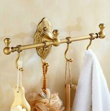 Bathroom Antique Brass Single Towel Bar Wall Mount Rail Rack Holder w/ 4 Hooks