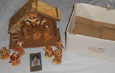Vintage Rare Depose Fontanini Italy 13pc Nativity Set W/ Real Wood Manger ~ S9