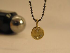 Sterling silver oxidized necklace with gold diamond pendant. Handmade pendant.