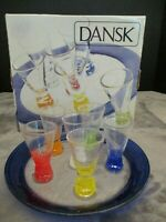 DANSK VIVACIOUS CORDIAL SET WITH GLASS TRAY 6 ASSORTED COLORS 1 1/2 OZ