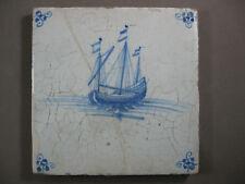 Antique Dutch tile sail ship sailboat rare 17th century -- free shipping