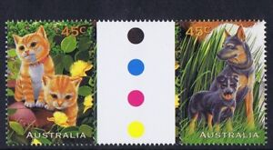 Australian Decimal Stamps 1996 45c Pets (Dogs and Cats) Gutter Pair, MNH