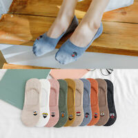 Cartoon Embroidered Expression Women Short Sock Fashion Ankle Funny Socks Cotton