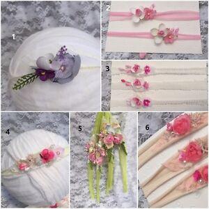 1x Newborn Baby Girl Flower Headband Tiebacks for Organic photo prop accessory