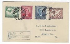 Santiago Chile Registered Airmail to Chicago Illinois, Four Stamps