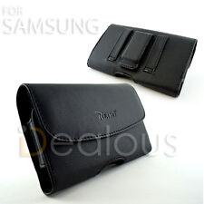 for Motorola E4 Premium Black Leather Pouch Case Cover Holster Belt Clip