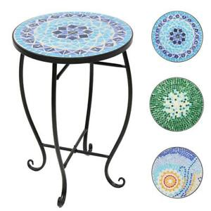 Mosaic Accent Table Round SideTable End Table Plant Stand Decor for Patio Porch