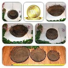 COUTURE HOME DECOR 3 ROUND WICKER WOVEN WROUGHT IRON HANDLES LG/MED/SM BASKETS!