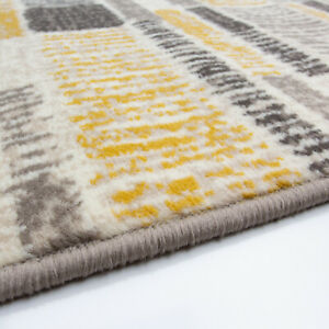Modern Mustard Striped Rug Small Large Living Room Geometric Runner CLEARANCE