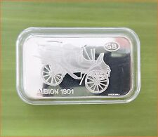 "RARE ! 1 oz .999 Switzerland Silver Bar ""ALBION 1901 ANTIQUE CAR COLLECTION"" C67"