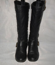 WOMENS ATMOSPHERE BLACK ZIP SYNTHETIC LOW HEEL UPPER CALF  BOOTS SZ:4/37(WB1202)