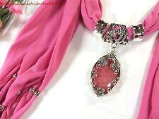 US SELLER crystal butterfly faux gem pendant jewelry pink scarf women scarf